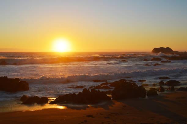Pacific Ocean sunset stock photo