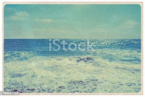 Retro-styled postcard of the Pacific Ocean, blue as blue can be -- all artwork is my own...For hundreds of similar vintage postcards from around the world, click the banner below.