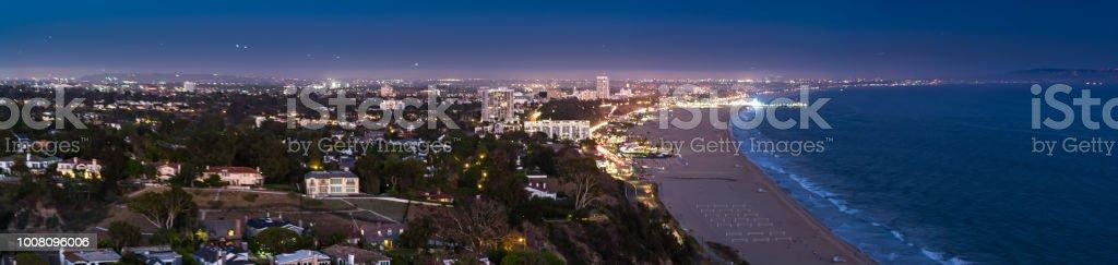 Pacific Palisades and Santa Monica at Dusk - Aerial Panorama stock photo