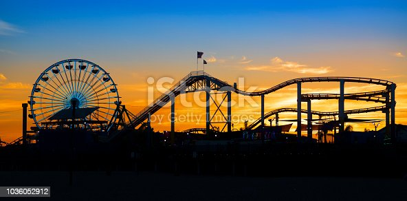 Silhouette of the Pacific Park at the famous Santa Monica Pier, California, USA. Nikon D850. Converted from RAW.