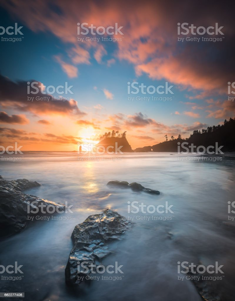 Pacific sunset at Olympic National Park royalty-free stock photo