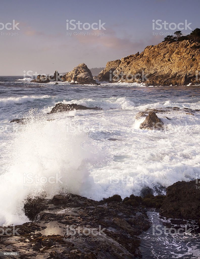 Pacific waves break on a Californian shore royalty-free stock photo