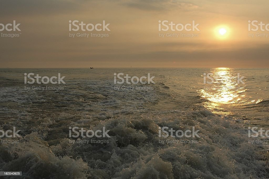 Pacific waves in sunset (DanShui, Taiwan) stock photo
