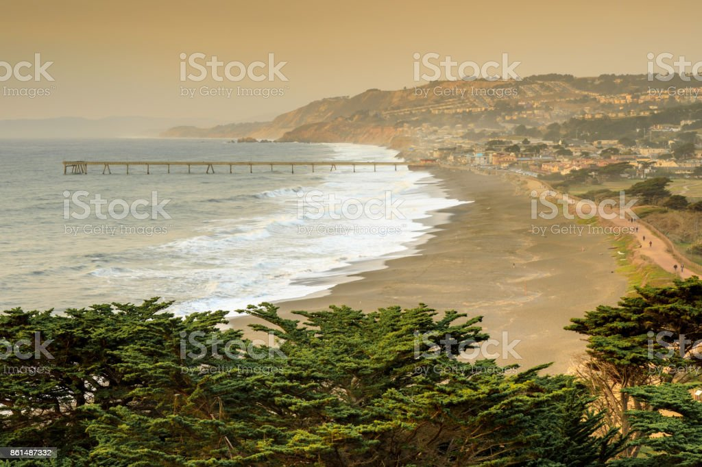 Pacifica Coastline with Smoky Skies after Napa fire. stock photo