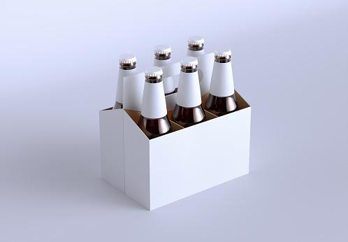 6 Pack Cardboard Beer Bottle Carrier Mockup. 3d Render