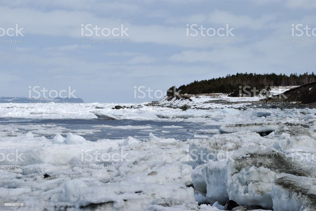 Pack Ice in Conception Bay, Conception Bay South, Newfoundland stock photo