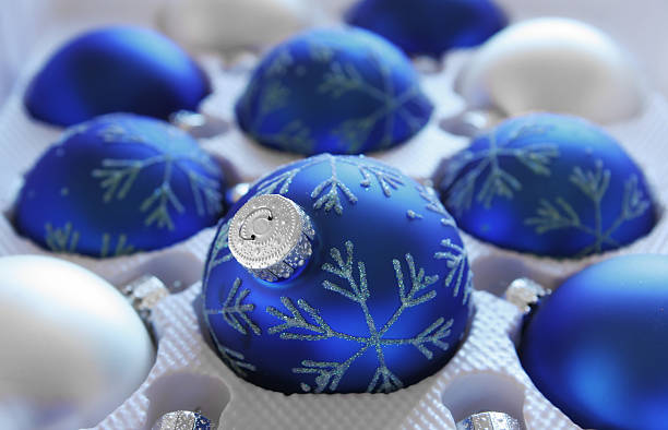 Pack of Blue Christmas Baubles stock photo