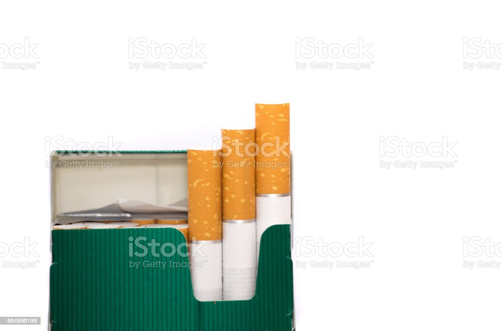 Pack of Cigarettes Isolated White royalty-free stock photo