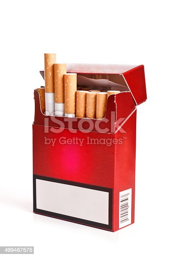 Pack of cigarettes with cigarettes sticking out isolated on white