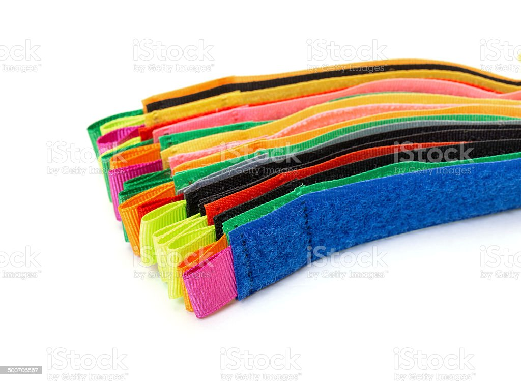Pack of Colorful Velcro Strips stock photo