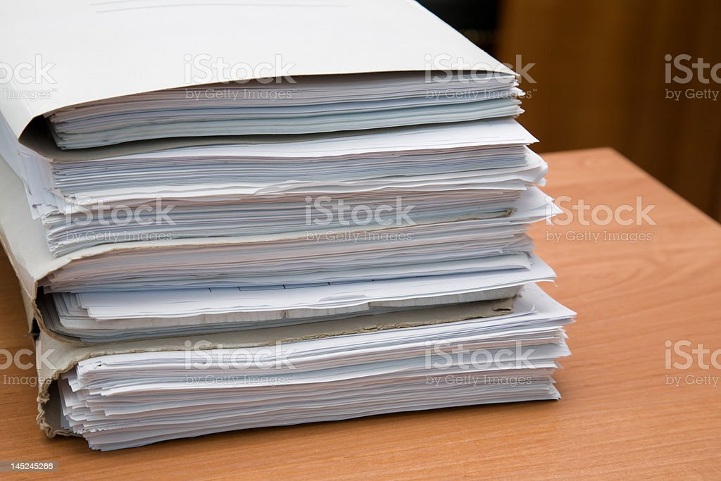 Pack of documents stock photo