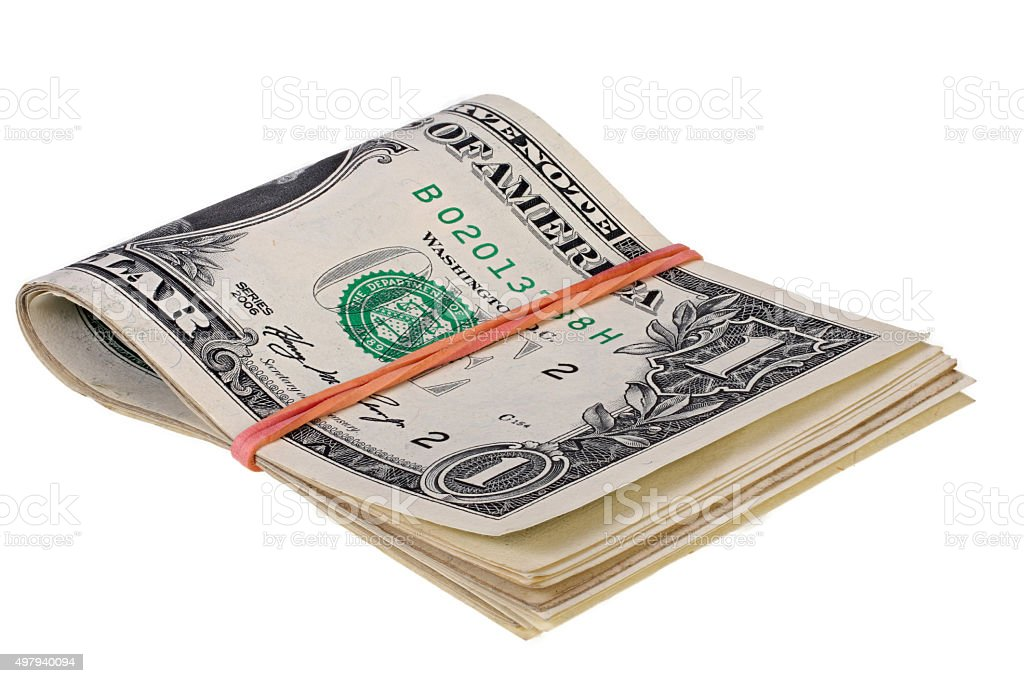 Pack of dollars fastened by an elastic band stock photo