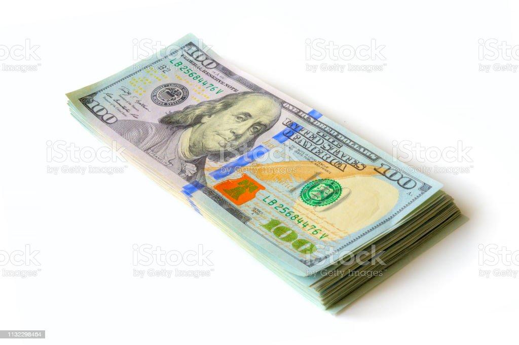 Bloco dos dólares, isolados no fundo branco. - foto de acervo