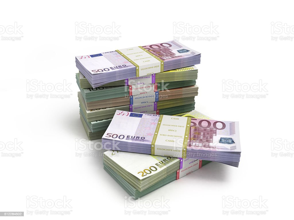 pack of euro banknotes isolated on white stock photo