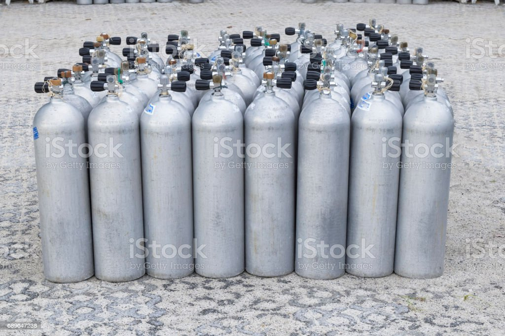 Pack of Oxygen cylinder for scuba diving stock photo