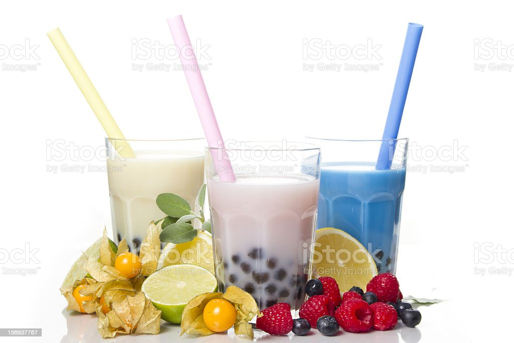 Pack shot of bubble tea showing the fruits they are made of stock photo
