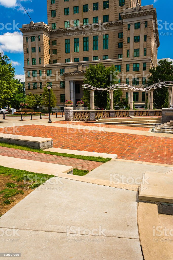 Pack Square Park and the Buncombe County Courthouse in Asheville stock photo