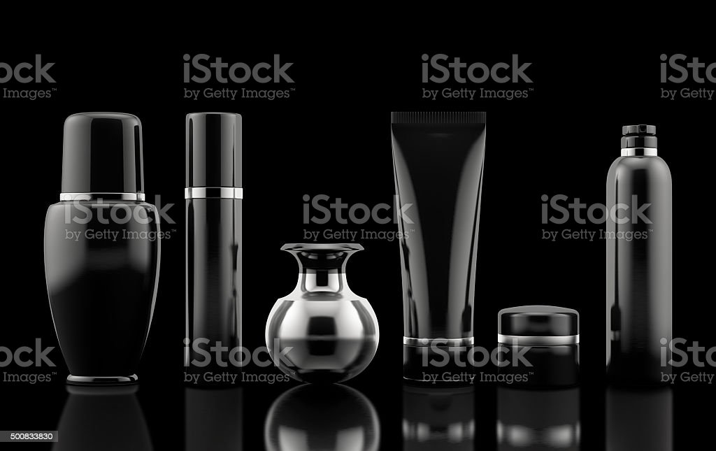 Package Cosmetic black set stock photo