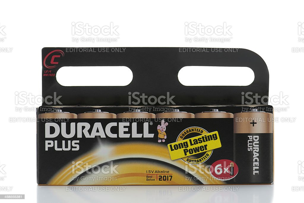 Package of 6 Duracell C batteries on white background stock photo