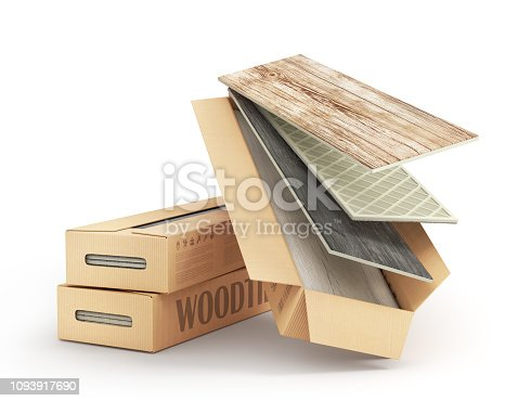 istock Package of tile isolation on a white. 3d illustration 1093917690