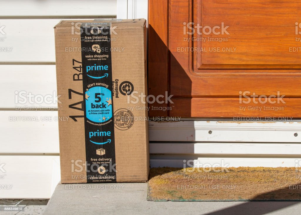 Package that was just delivered stock photo