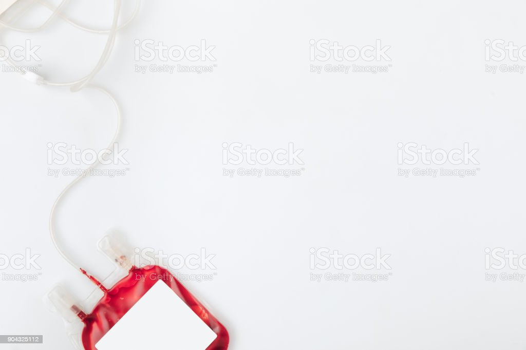 package with blood for transfusion stock photo