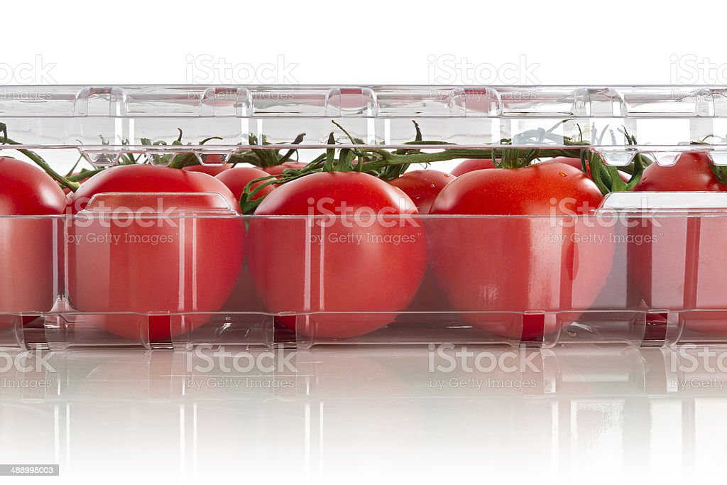 Packaged tomatoes stock photo