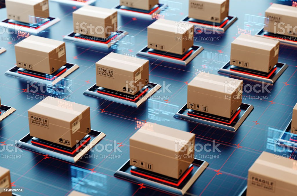 Packages are transported in high-tech Settings,online shopping,Concept of automatic logistics management. stock photo