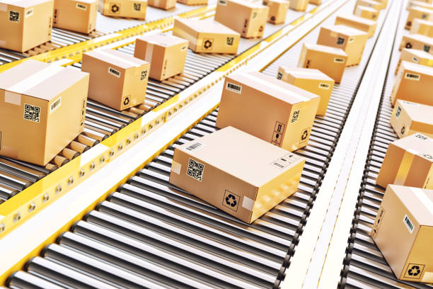 packages delivery, packaging service and parcels transportation system concept - commercio elettronico foto e immagini stock