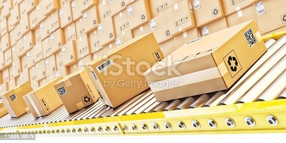istock Packages delivery, packaging service and parcels transportation system concept 1163916879