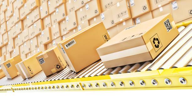 Paketzustellung, Verpackungsservice und Pakettransportsystemkonzept – Foto