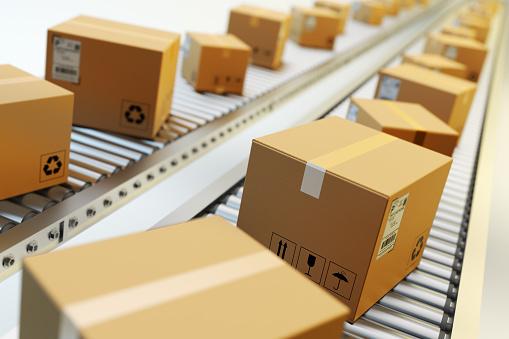 Packages Delivery Packaging Service And Parcels Transportation System Concept Foto de stock y más banco de imágenes de Almacén