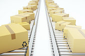 istock Packages delivery, packaging service and parcels transportation system concept, cardboard boxes on conveyor belt, 3d rendering 664028926
