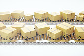 istock Packages delivery, packaging service and parcels transportation system concept, cardboard boxes on conveyor belt, 3d rendering 664028928