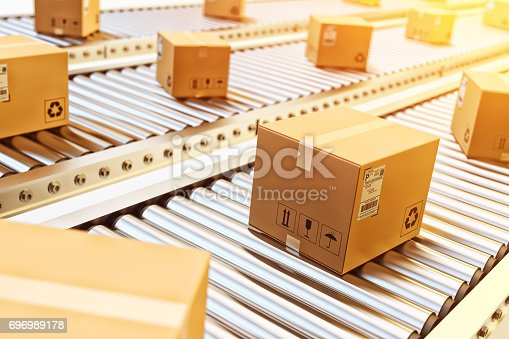 istock Packages delivery, packaging service and parcels transportation system concept 696989178