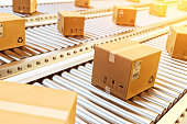 Packages delivery, packaging service and parcels transportation system concept