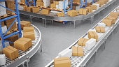 Packages delivery, parcels transportation system concept, cardboard boxes on conveyor belt in warehouse. Warehouse with cardboard boxes inside on pallets racks. Huge modern warehouse. 3D Illustration
