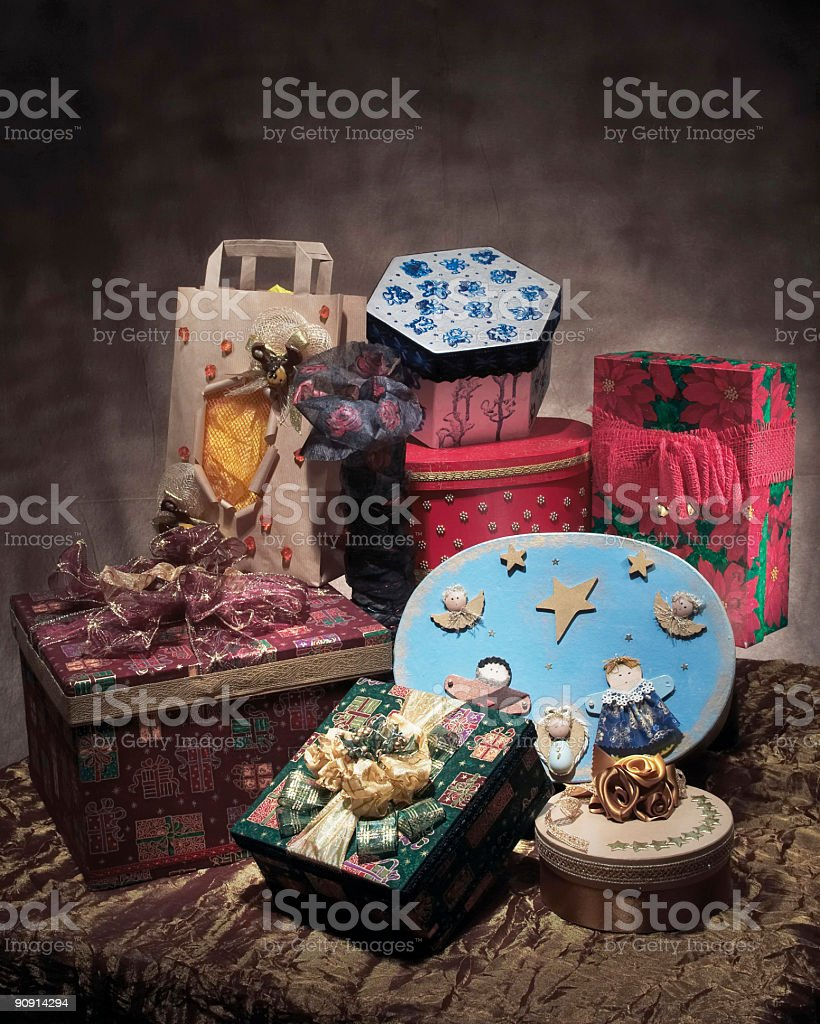 Packages gift group stock photo