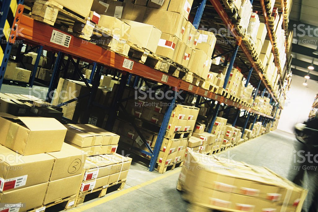 Packages in warehouse stock photo