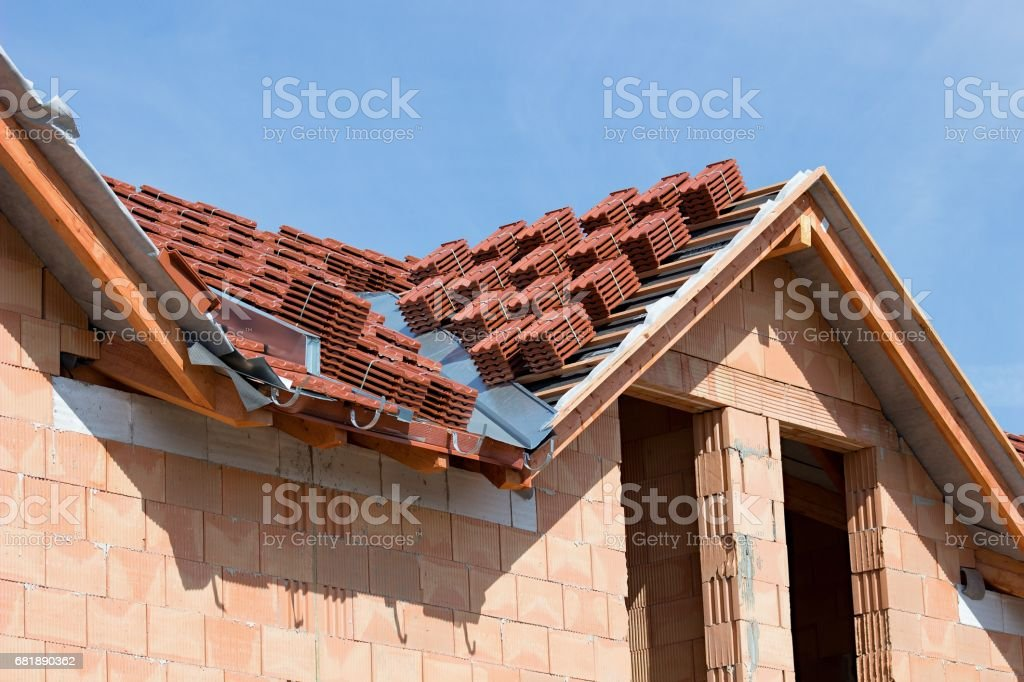 packages of roof tile stock photo
