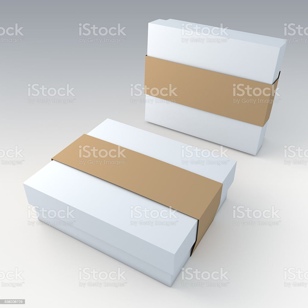 packaging and brown jacket label ring in isolated stock photo