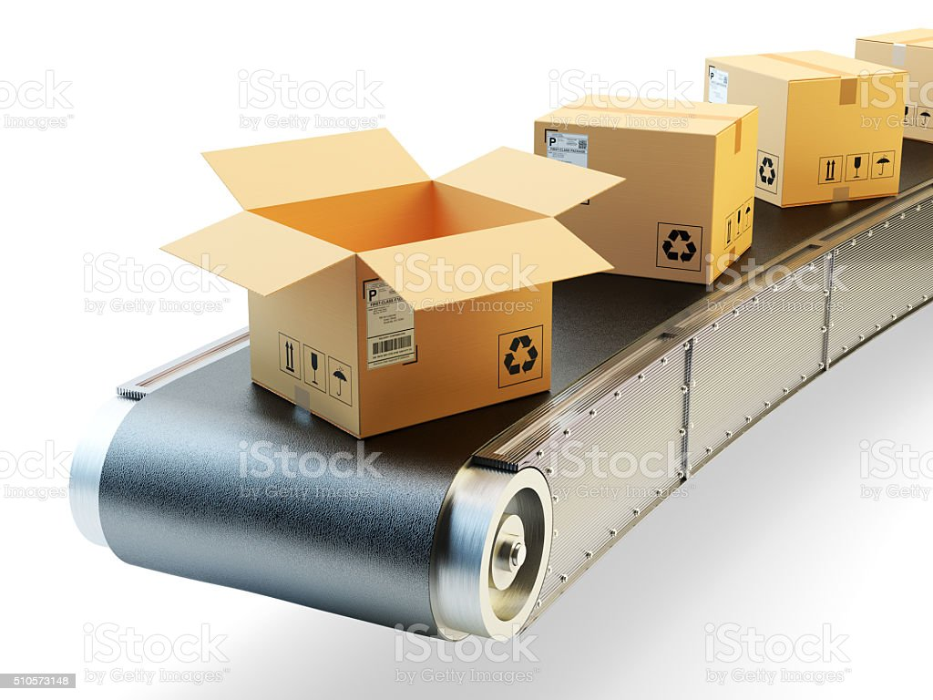 Packaging beltline, packages delivery and parcels shipping concept stock photo