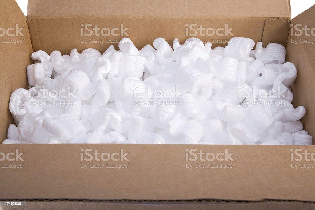 Packaging foam in a cardboard box.