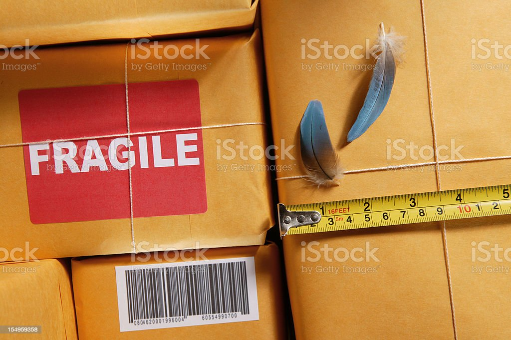 packaging for shipping weight and measurement royalty-free stock photo