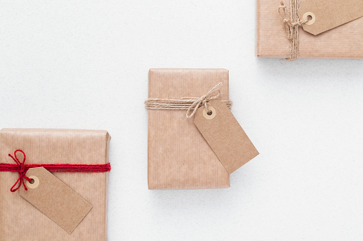 Packaging Ideas Wrapping Inspiration Packaging Paper With Labels Stock Photo - Download Image Now