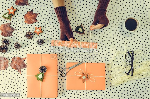 istock Packaging of gifts for Christmas and new year 620738814