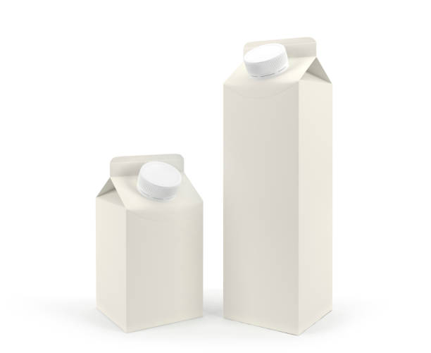 Packaging of milk of different volume stock photo