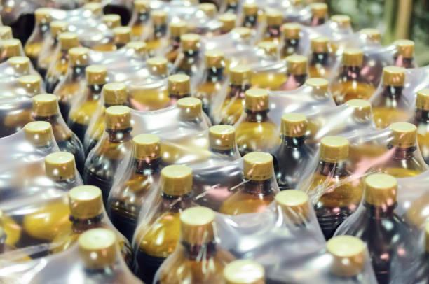 Packaging of plastic bottles stock photo
