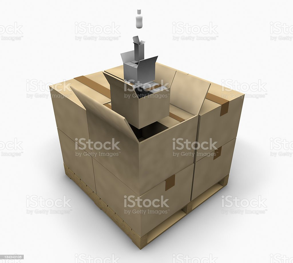 packaging, packing diagram stock photo
