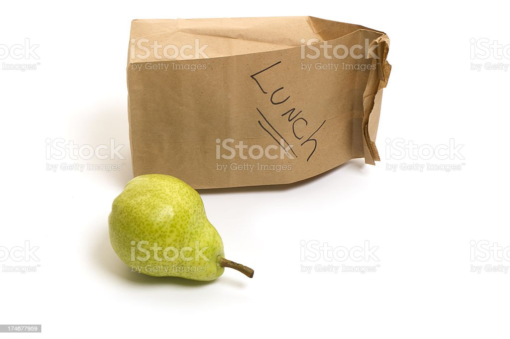 Packed bag lunch with bartlett pear for school or office royalty-free stock photo